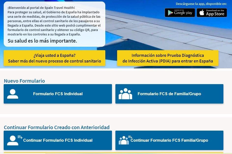 Comenzar formulario para entrar a España