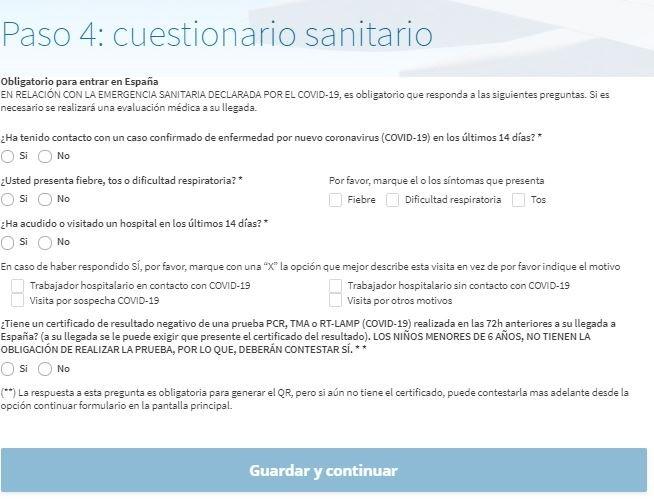 Cuestionario sanitario - Formulario para entrar a España