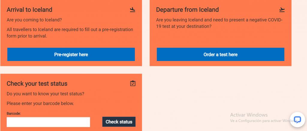 Formulario para entrar a Islandia